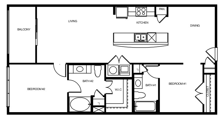 1,114 sq. ft. Torino floor plan