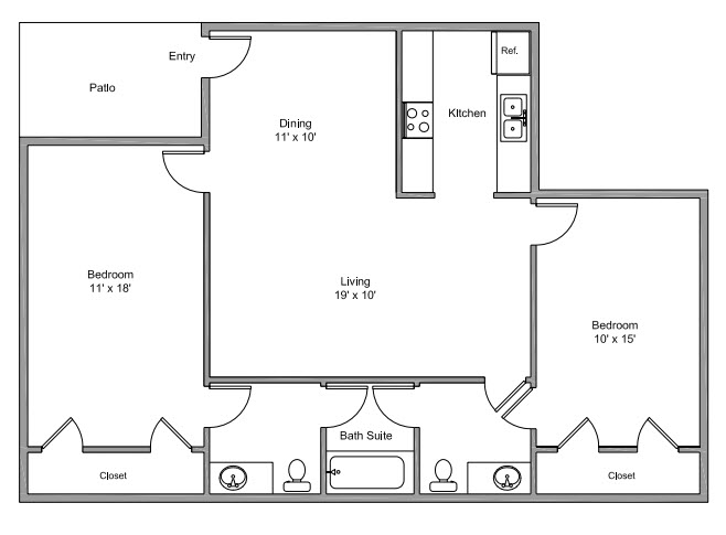 961 sq. ft. E floor plan
