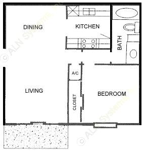 680 sq. ft. B floor plan