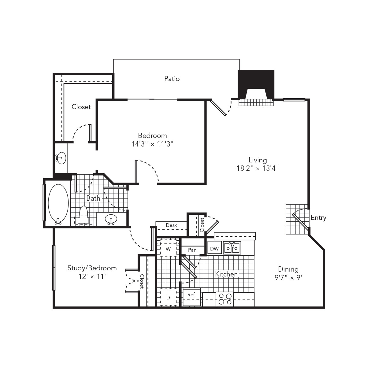 1,024 sq. ft. Splash floor plan