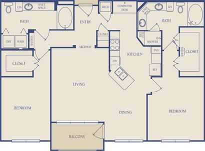 1,293 sq. ft. B3 floor plan