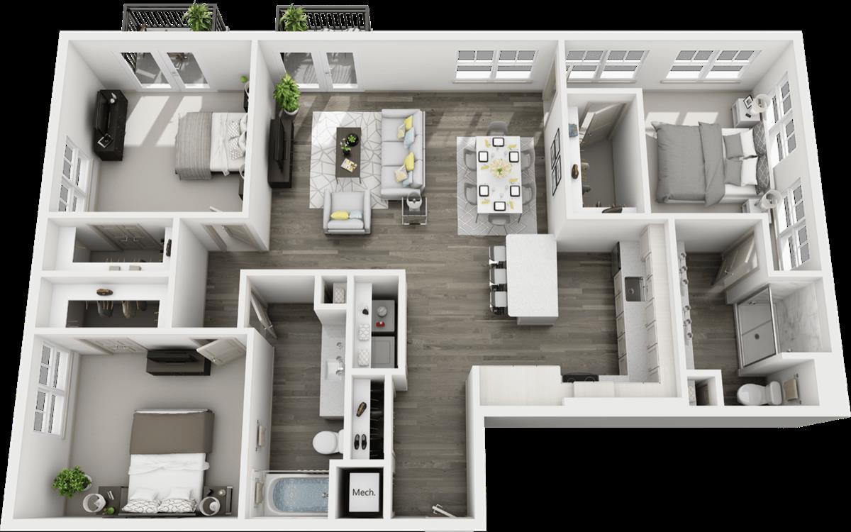 1,535 sq. ft. C3 floor plan
