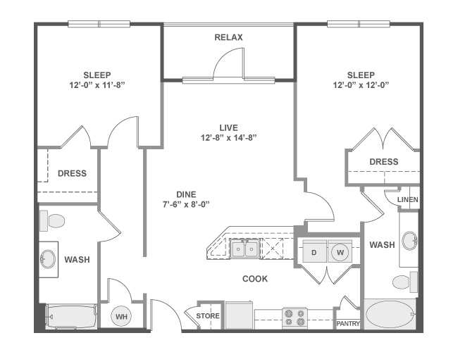 1,083 sq. ft. C4B floor plan