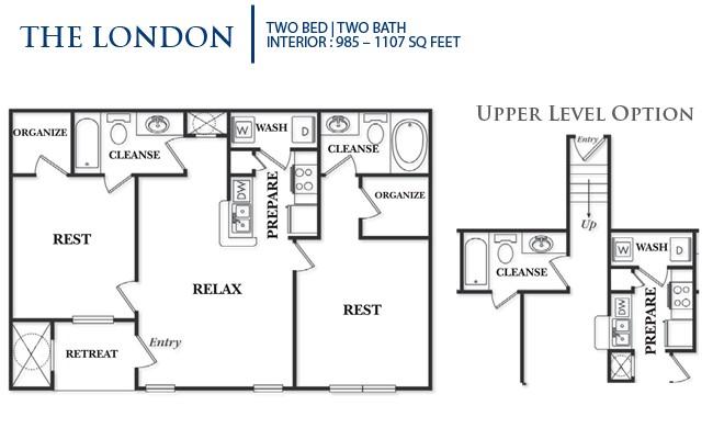 1,107 sq. ft. B3U-London floor plan