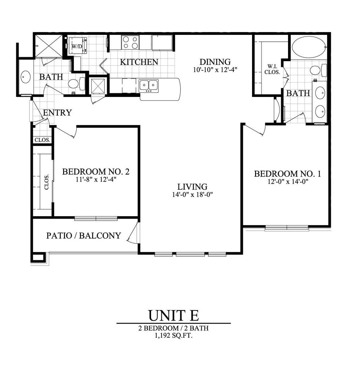 1,192 sq. ft. E floor plan