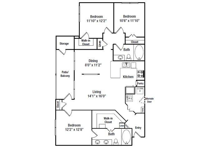 1,237 sq. ft. C1G floor plan