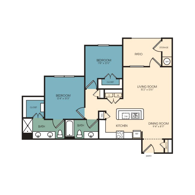 1,075 sq. ft. Evergreen floor plan