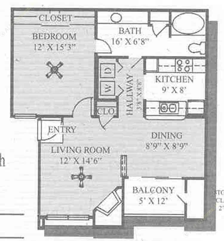 726 sq. ft. Augusta floor plan
