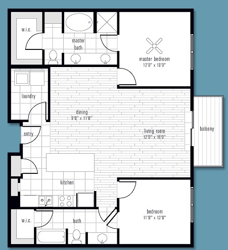 1,238 sq. ft. to 1,298 sq. ft. D floor plan