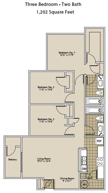 1,202 sq. ft. C1-A floor plan
