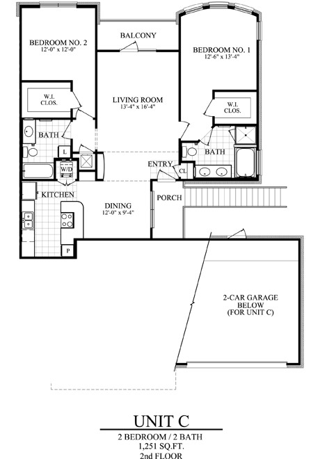 1,251 sq. ft. C floor plan