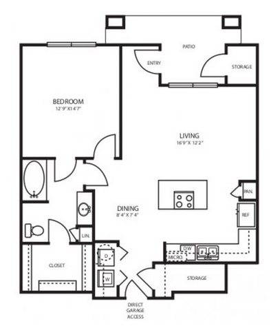 873 sq. ft. A3.2G floor plan