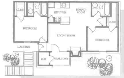 899 sq. ft. B2 floor plan