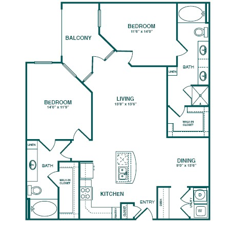 1,304 sq. ft. C2S floor plan