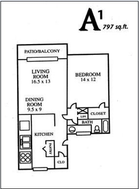 797 sq. ft. A1 floor plan