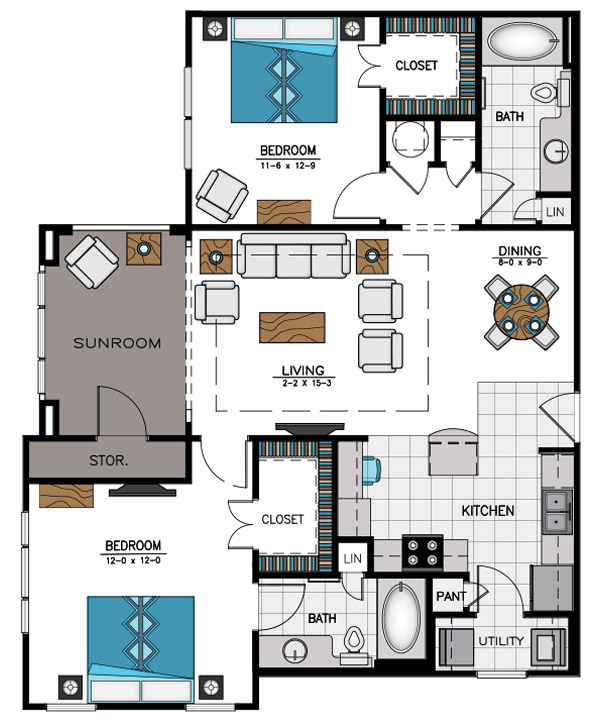 1,261 sq. ft. B7B floor plan