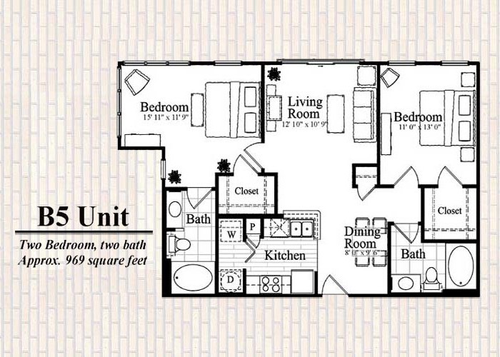 961 sq. ft. B5 floor plan