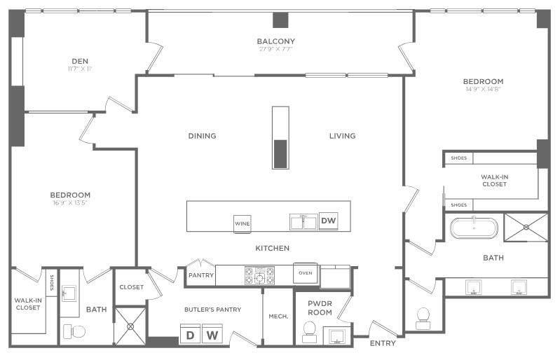 2,002 sq. ft. PH3 floor plan