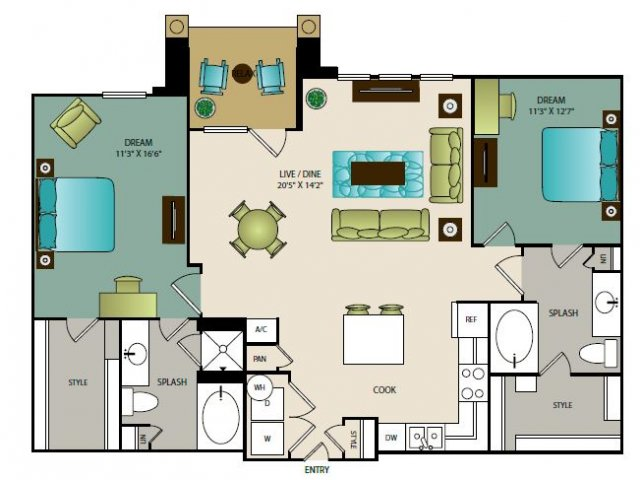 1,197 sq. ft. B3 floor plan