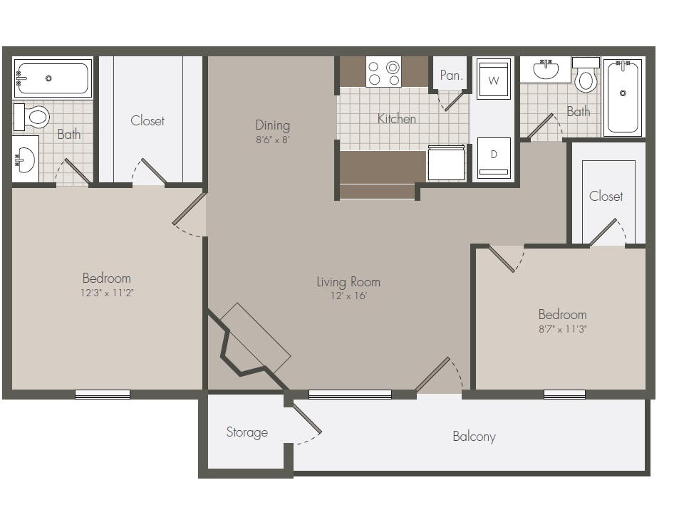 840 sq. ft. C floor plan