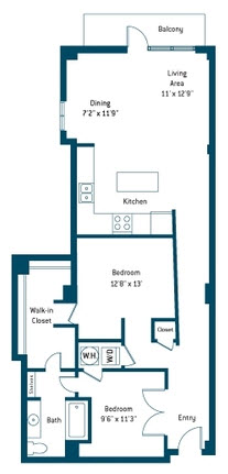 1,124 sq. ft. C floor plan