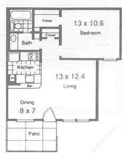 575 sq. ft. A4 floor plan