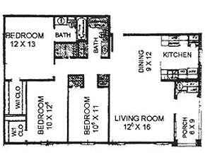 1,132 sq. ft. 60% floor plan