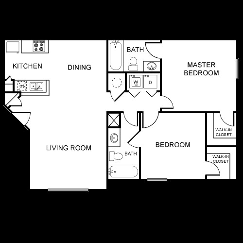 943 sq. ft. B4/60% floor plan