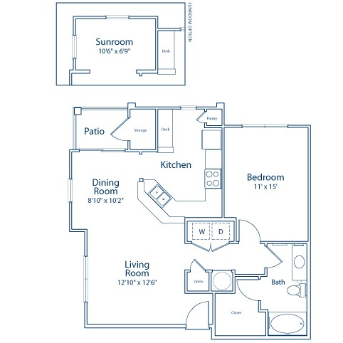 825 sq. ft. A2 floor plan