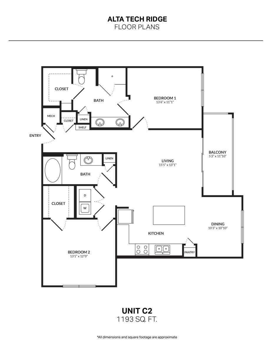 1,208 sq. ft. C2G1 floor plan