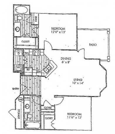 1,064 sq. ft. B3 floor plan