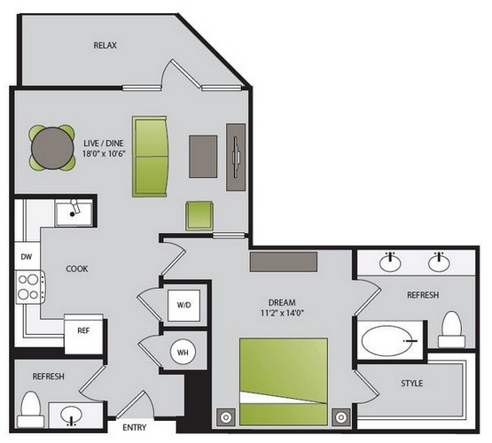 985 sq. ft. A4.2 floor plan