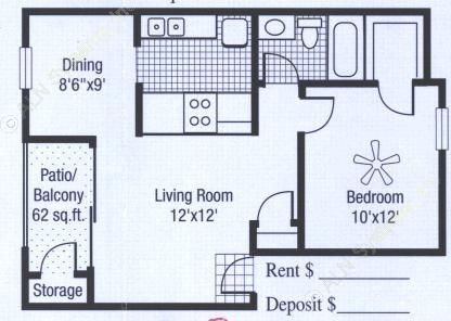 558 sq. ft. to 620 sq. ft. floor plan