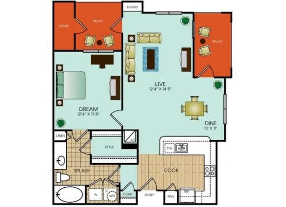 875 sq. ft. A16 floor plan