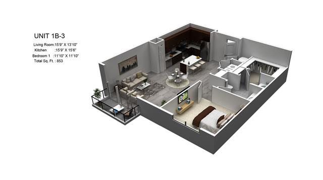 853 sq. ft. Youkon/1B-3 floor plan