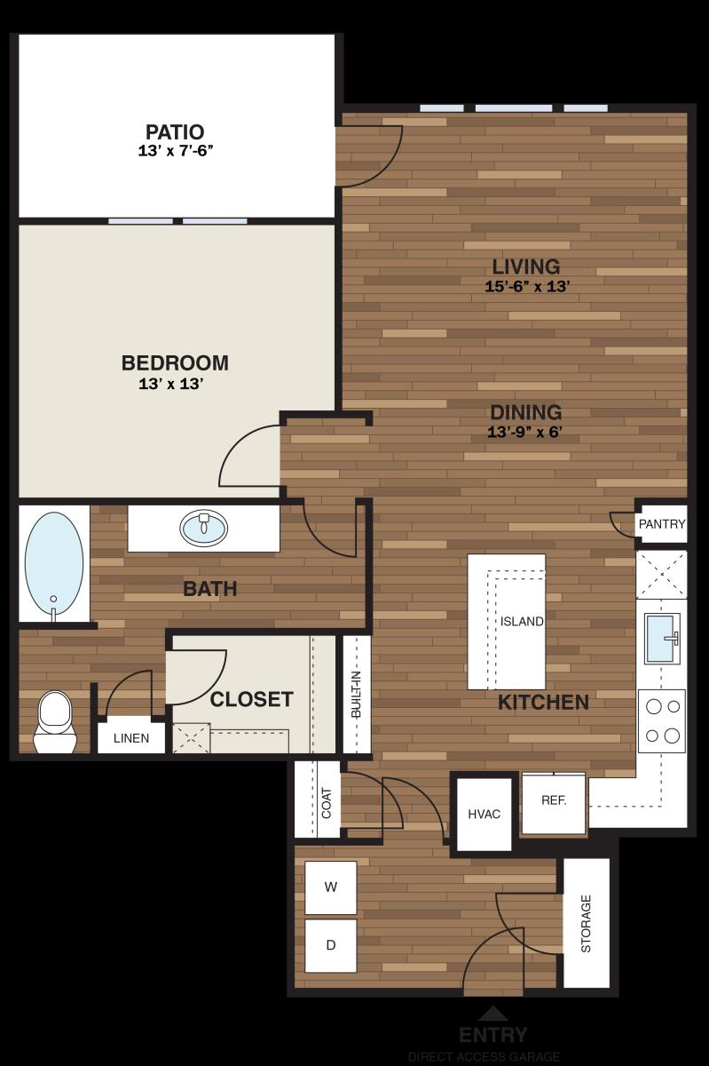 954 sq. ft. A16GG floor plan