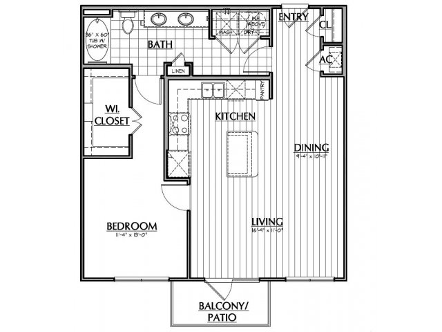 870 sq. ft. A3 floor plan