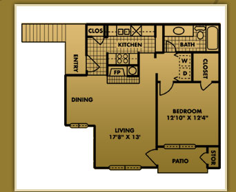 743 sq. ft. A-2 floor plan