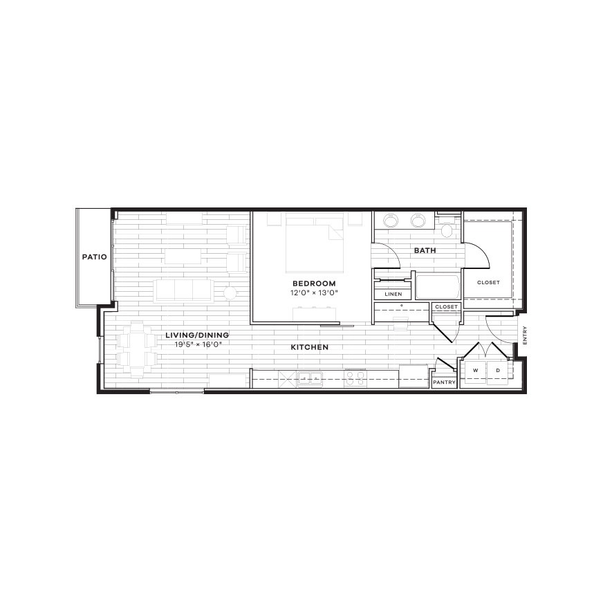 936 sq. ft. 1E floor plan