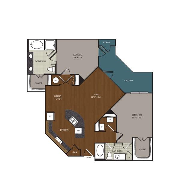 1,255 sq. ft. Raleigh floor plan