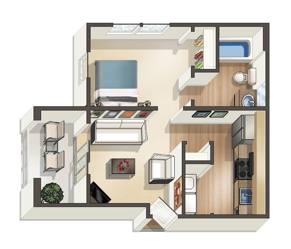 470 sq. ft. Aloha floor plan