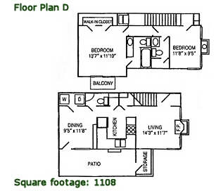 1,108 sq. ft. D floor plan