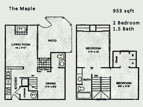 953 sq. ft. Maple floor plan