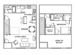678 sq. ft. 1x1 D floor plan