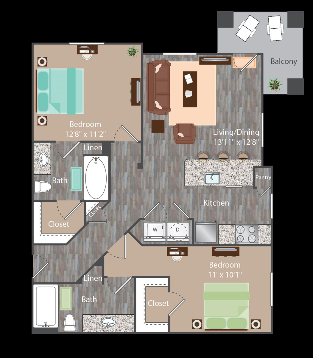 960 sq. ft. Rockefeller floor plan