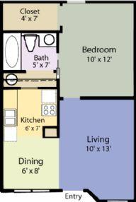 505 sq. ft. Birch floor plan