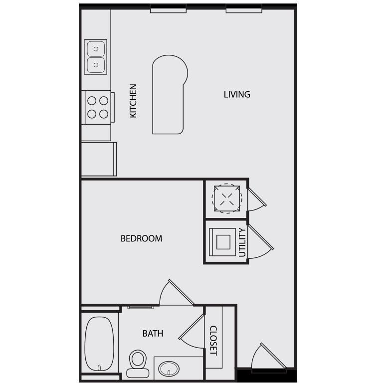 559 sq. ft. S1 floor plan