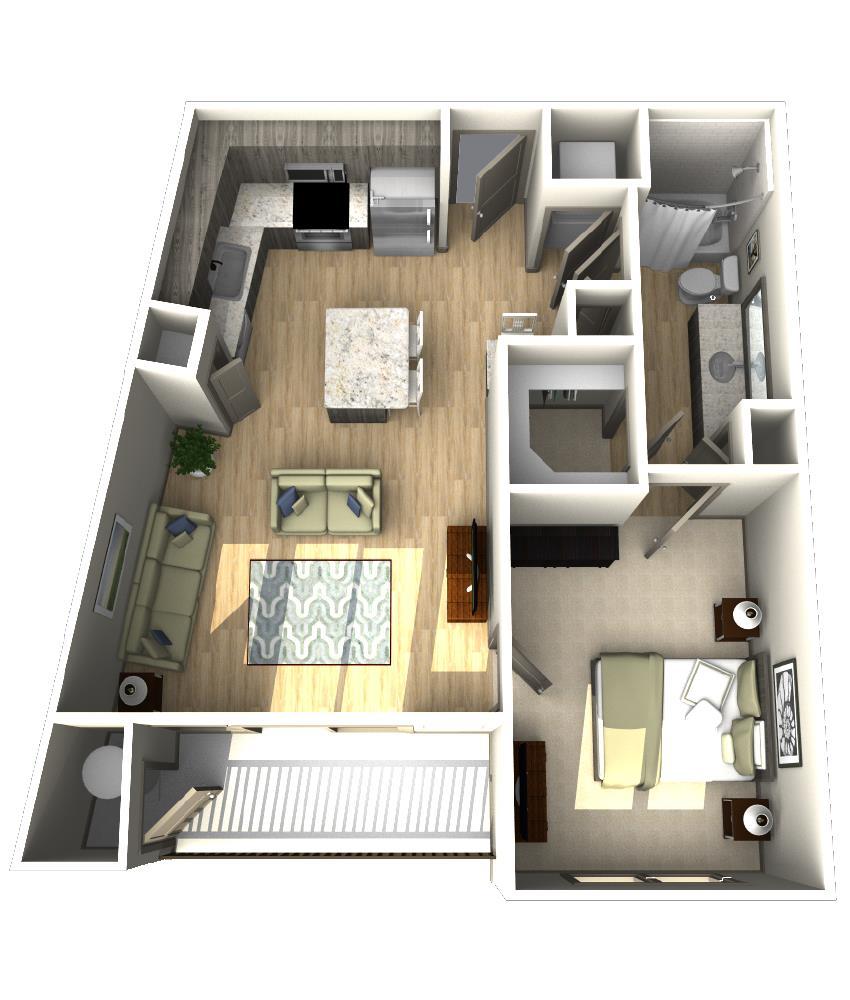 714 sq. ft. A5 floor plan