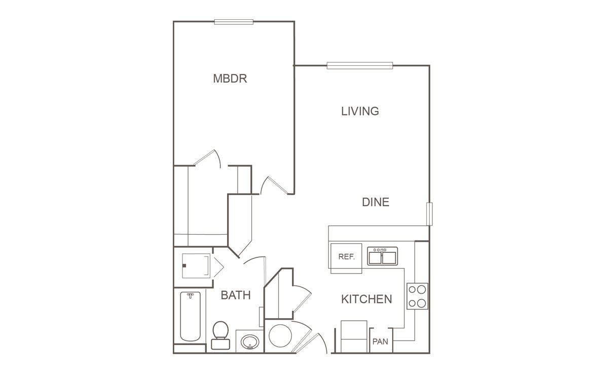 689 sq. ft. 30 floor plan