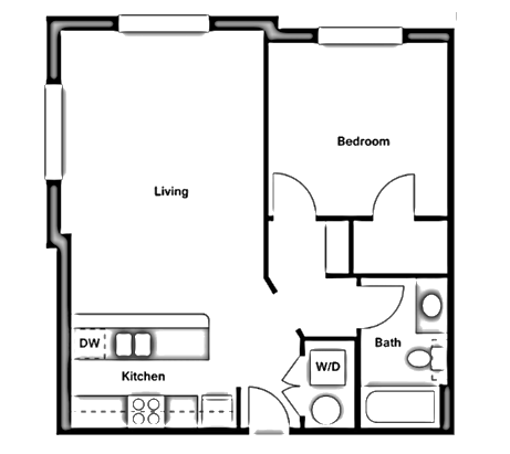 678 sq. ft. A1-C floor plan